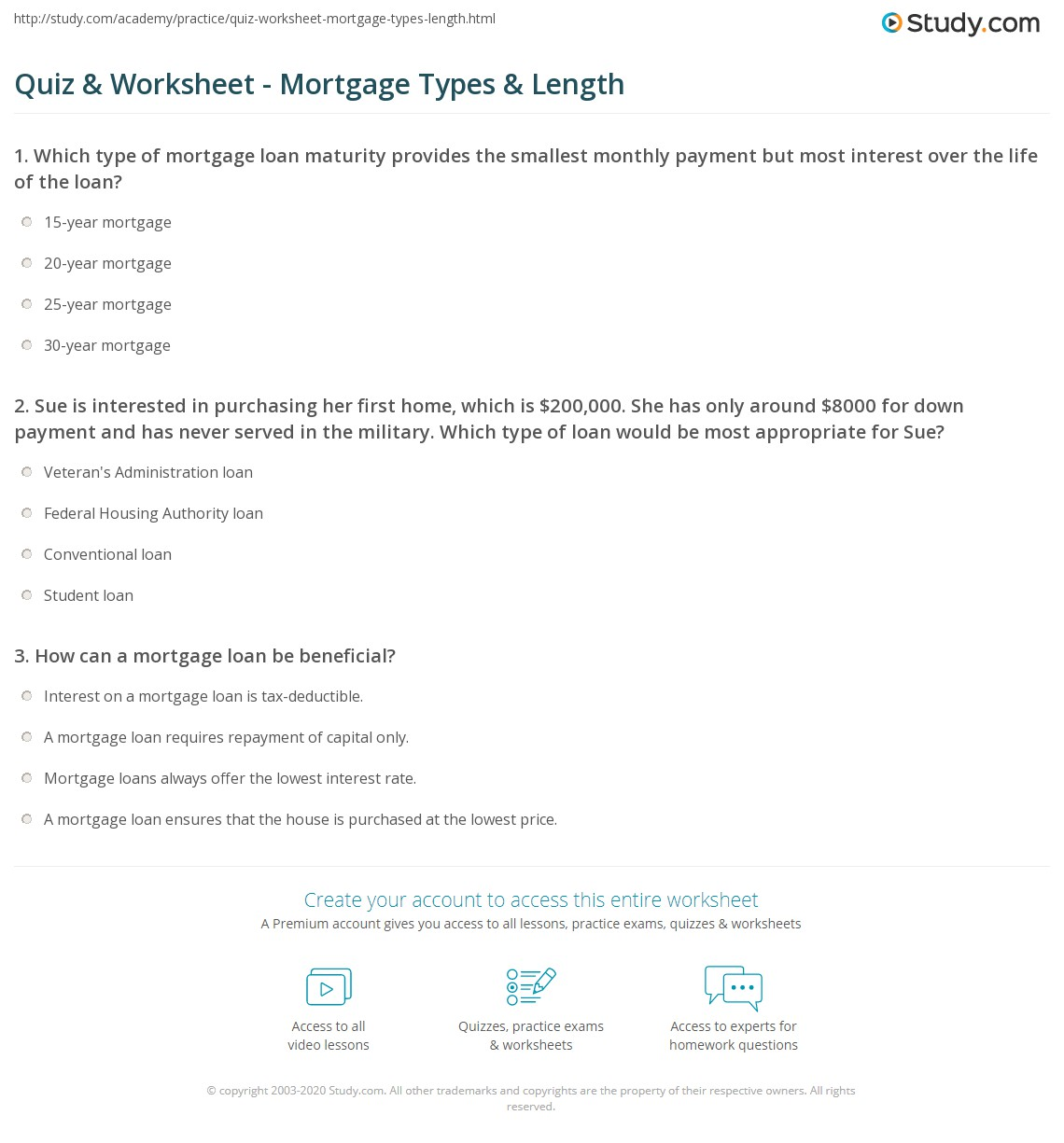 Printables Mortgage Worksheet accounting mortgage worksheet orangeuy the best quiz types length study com print buying a house loan worksheet