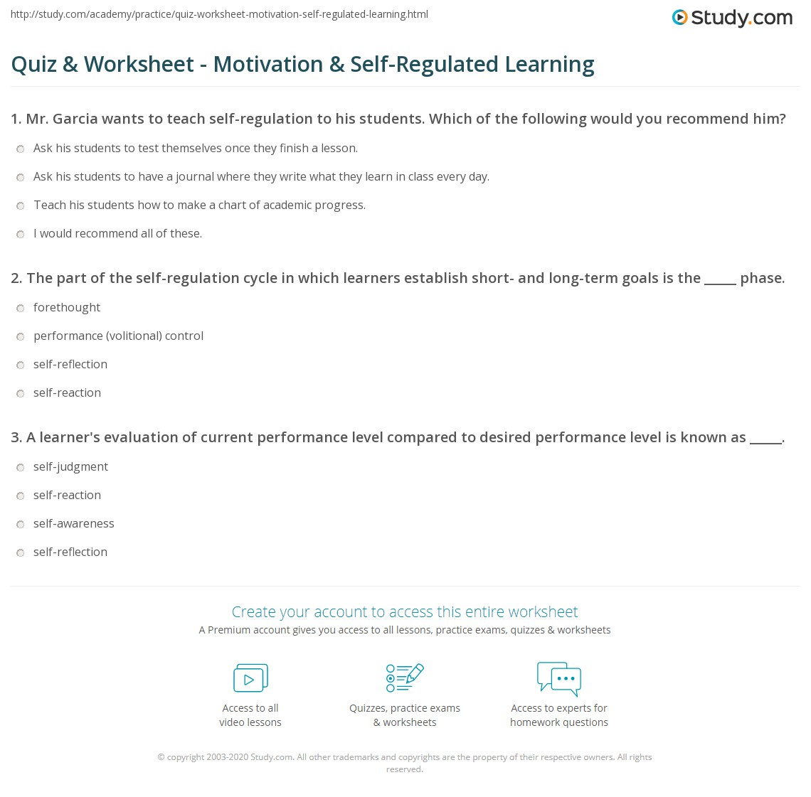 Worksheets Self Motivation Worksheets quiz worksheet motivation self regulated learning study com print the role of in worksheet