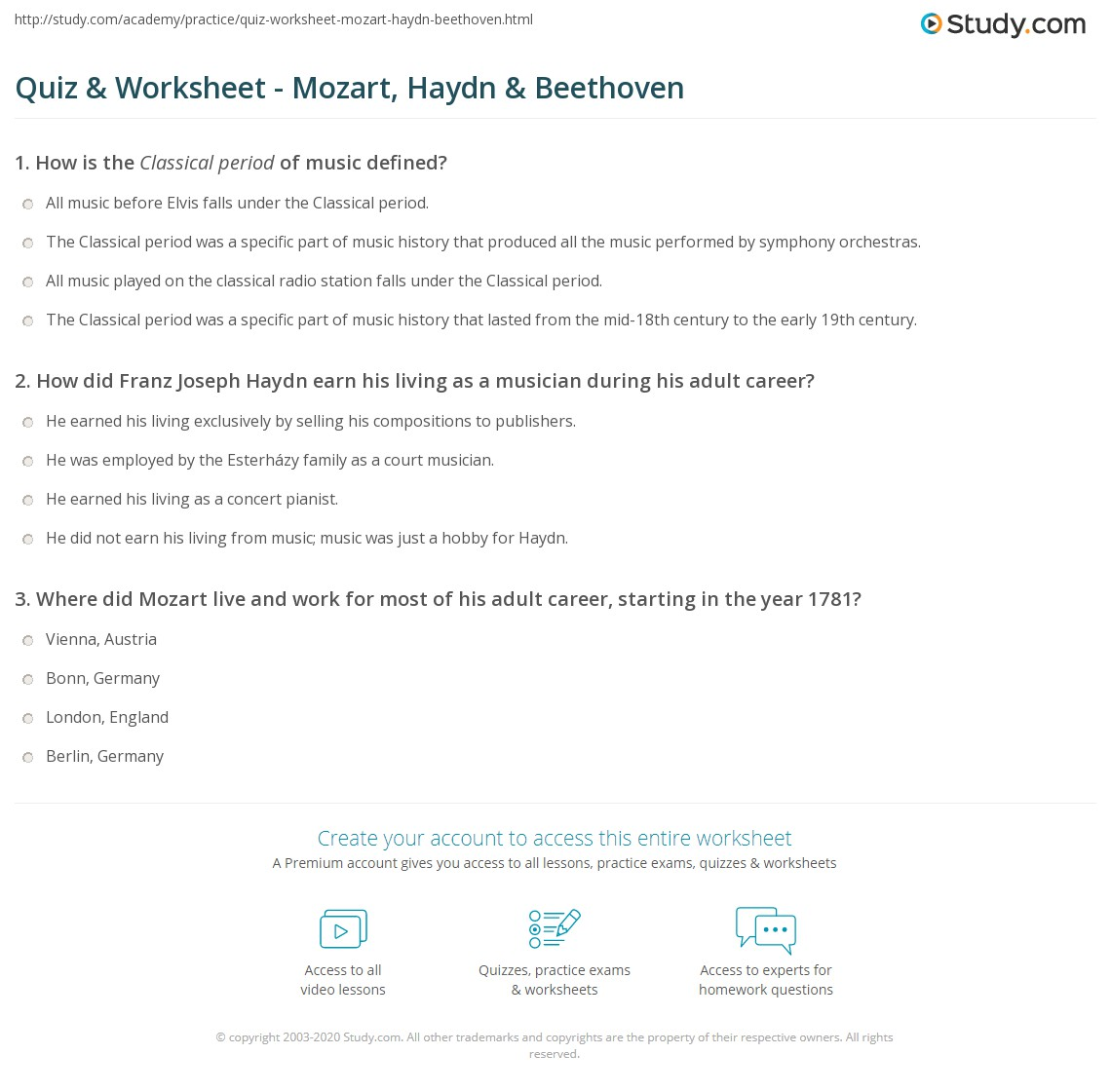 Printables Beethoven Lives Upstairs Worksheet beethoven worksheet davezan quiz amp mozart haydn study com