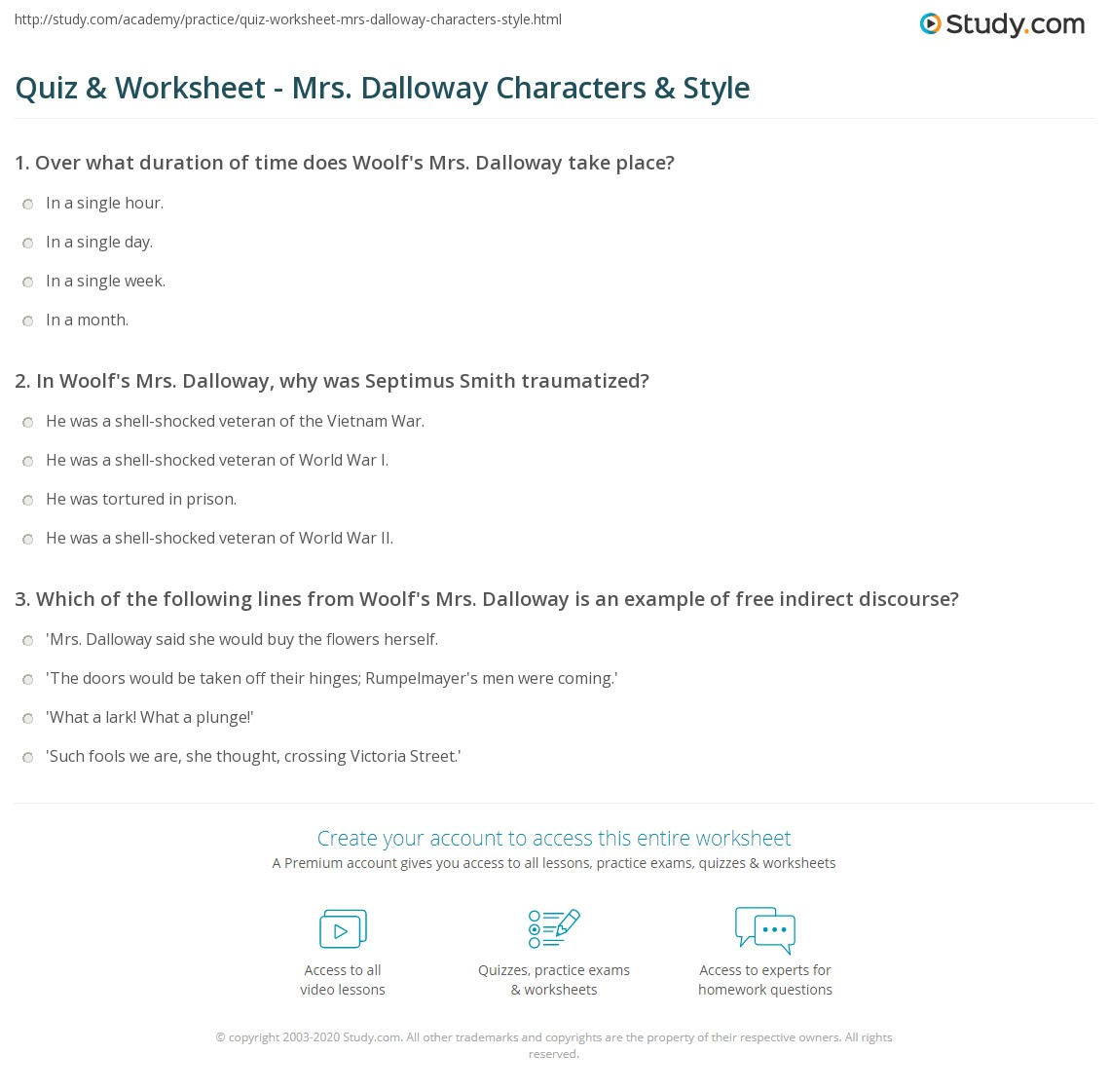 quiz worksheet mrs dalloway characters style com print mrs dalloway analysis of characters and style worksheet