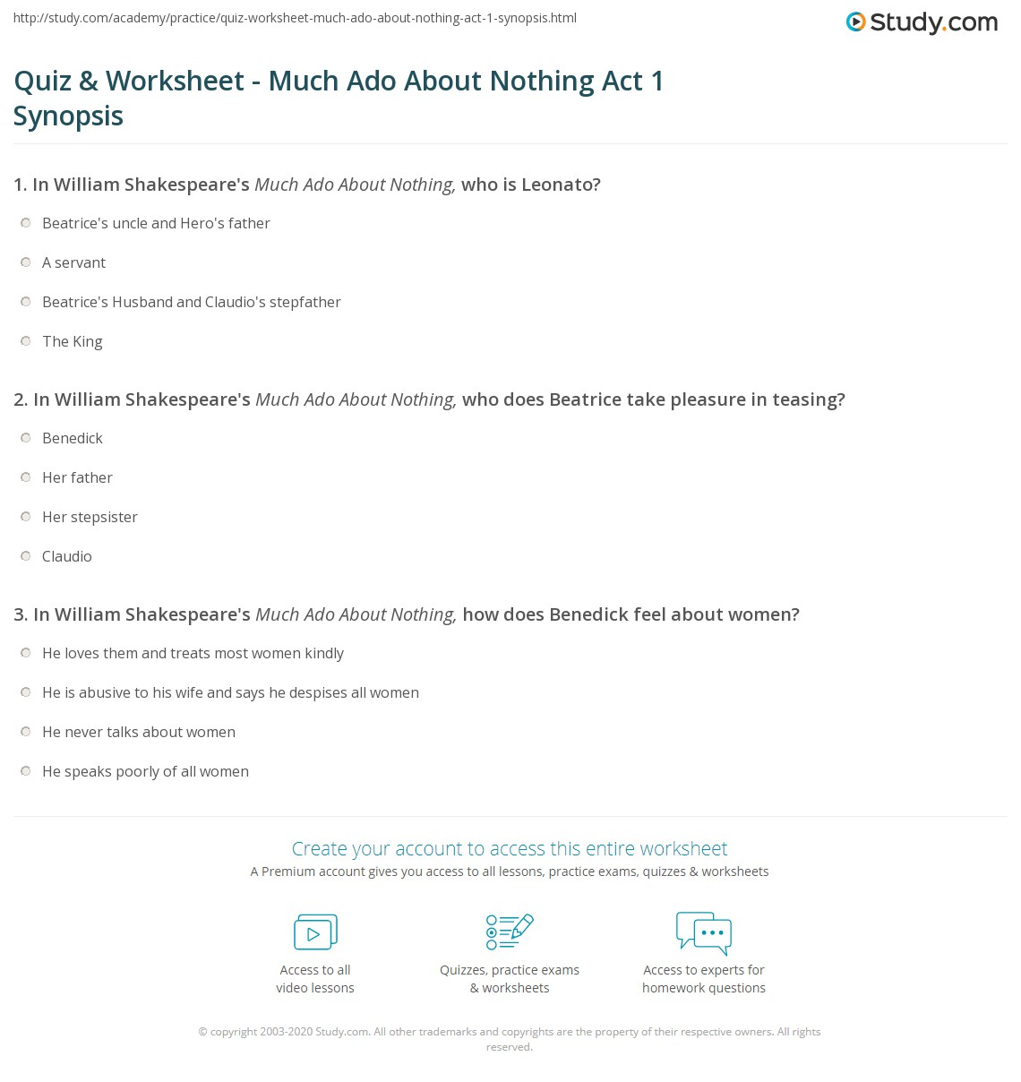 Quiz & Worksheet - Much Ado About Nothing Act 1 Synopsis | Study.com