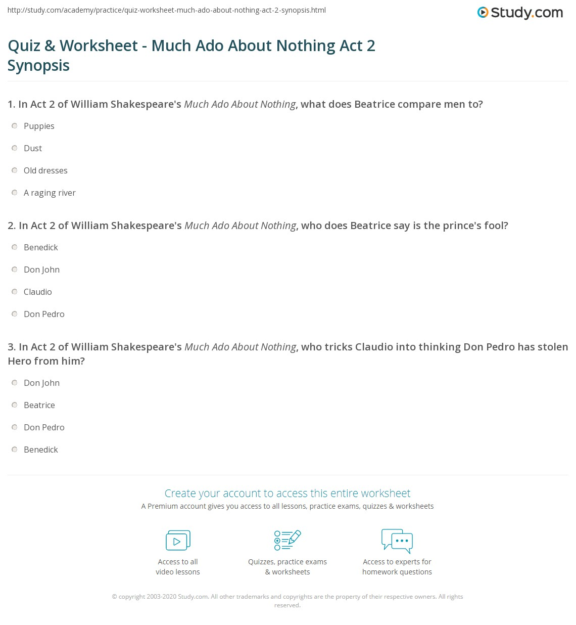 quiz worksheet much ado about nothing act synopsis com print much ado about nothing act 2 summary worksheet