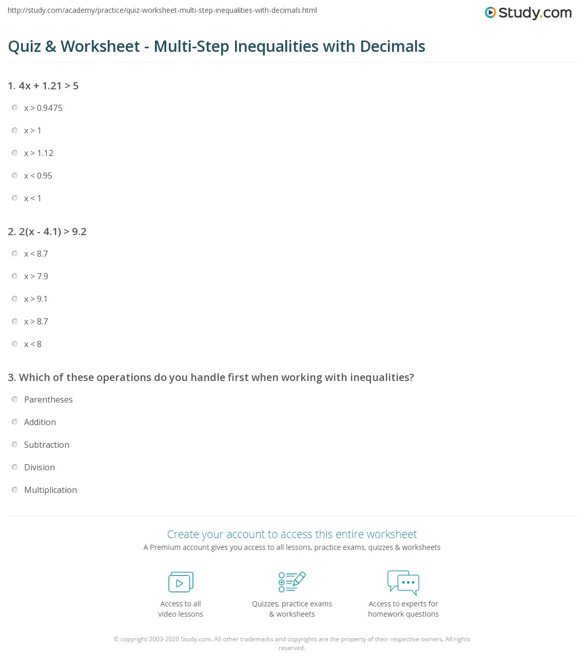 Quiz Worksheet MultiStep Inequalities with Decimals – Solving Multi Step Inequalities Worksheet