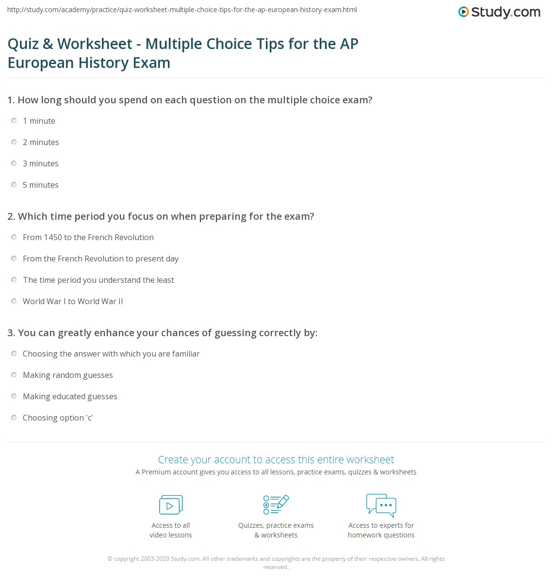 quiz worksheet multiple choice tips for the ap european print mastering multiple choice questions on the ap european history exam worksheet