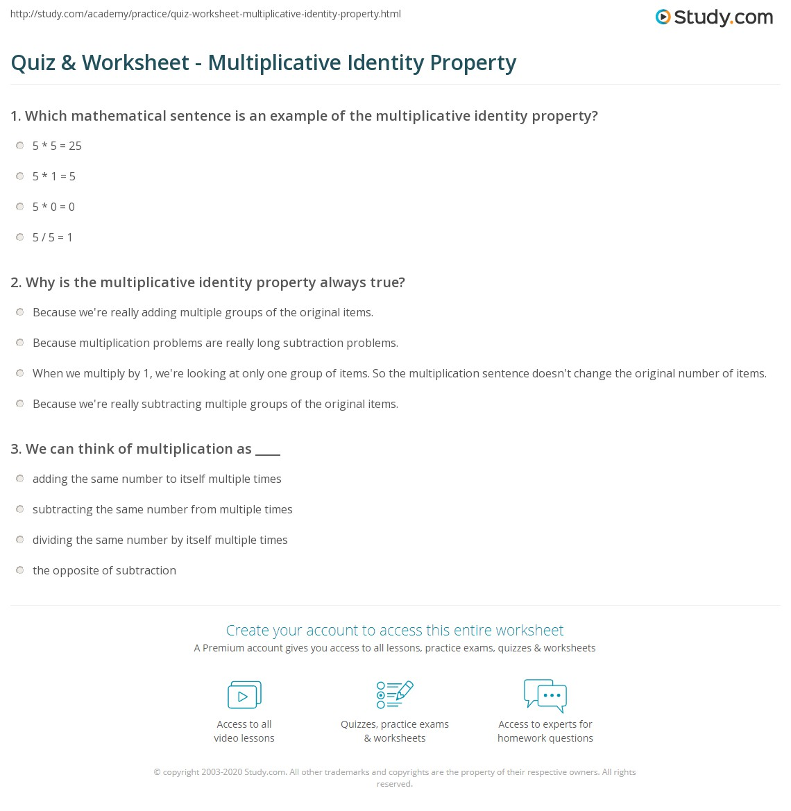 Quiz Worksheet Multiplicative Identity Property – Identity Property of Addition Worksheet