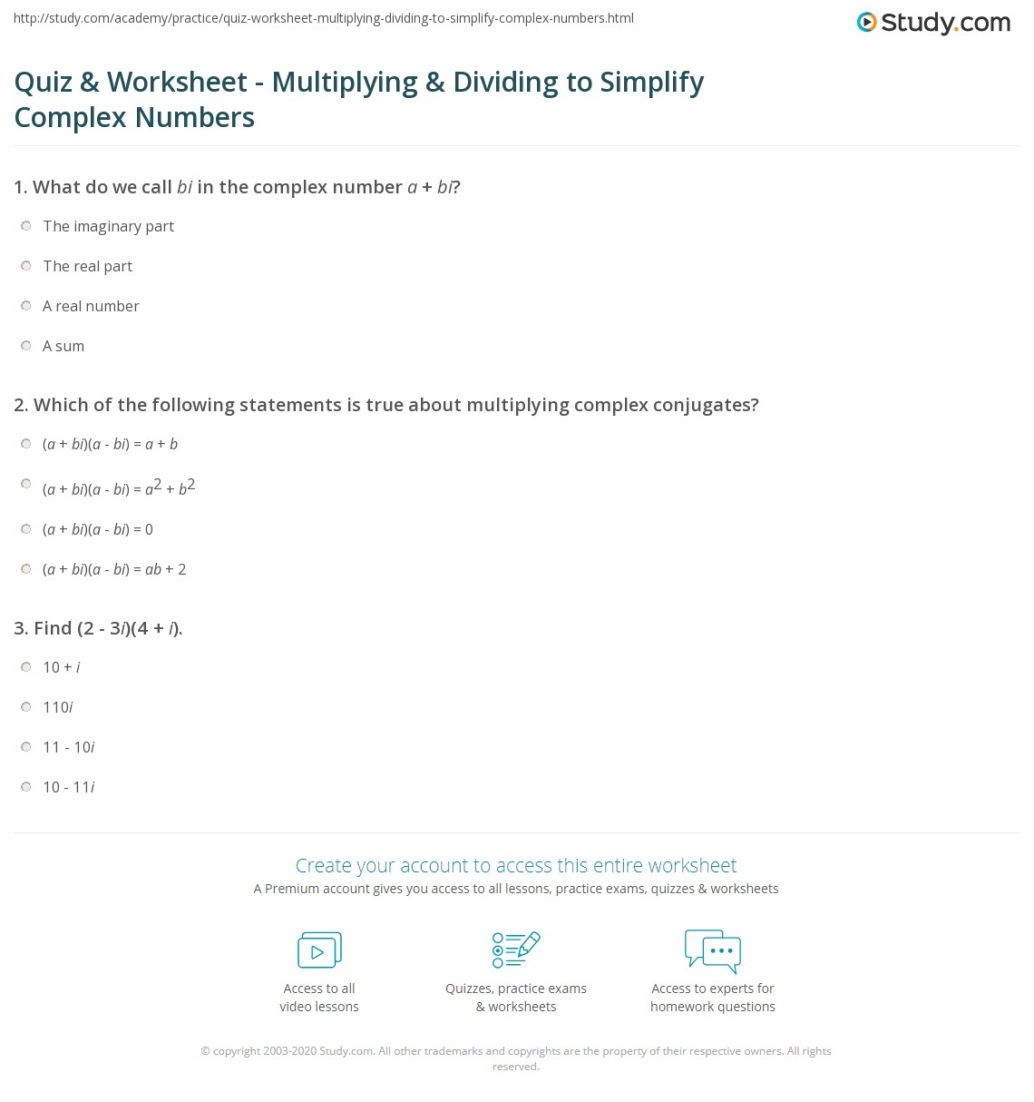 quiz worksheet multiplying dividing to simplify complex numbers. Black Bedroom Furniture Sets. Home Design Ideas