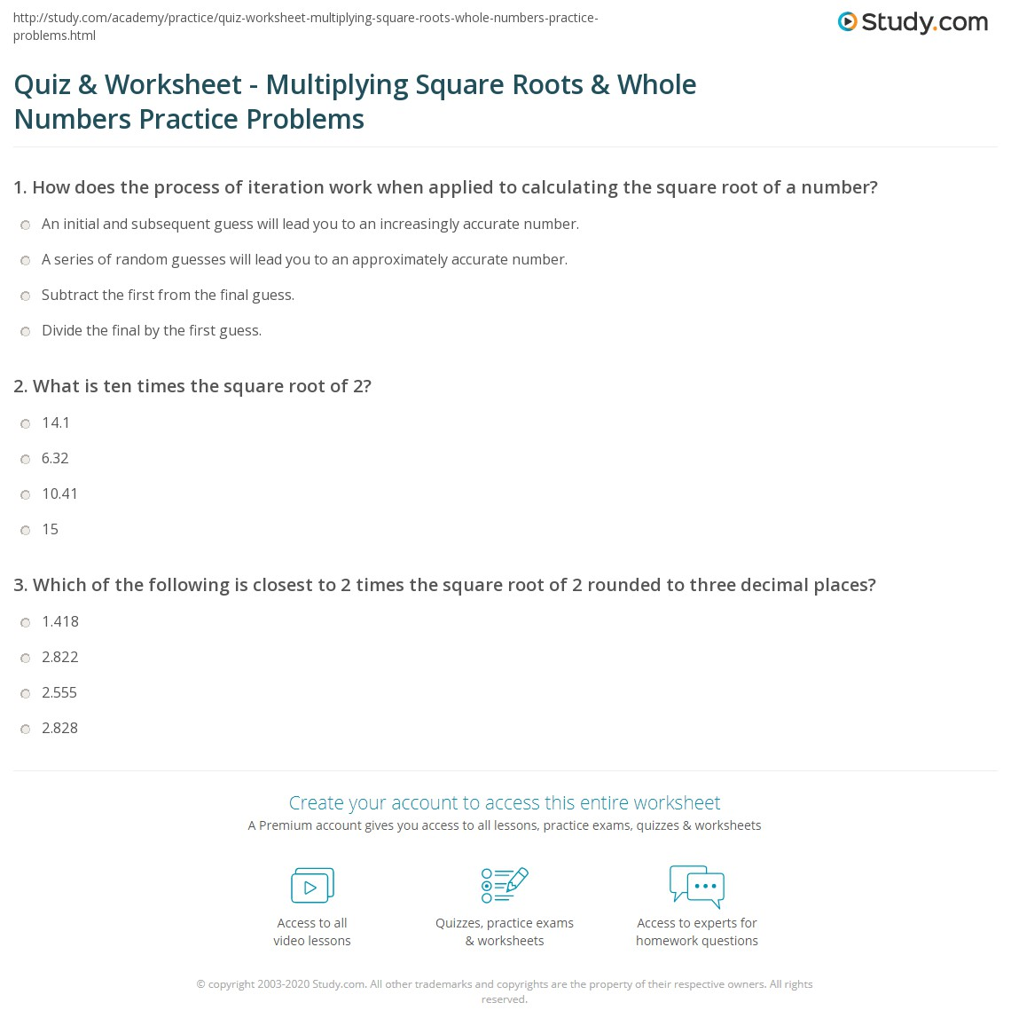 Printables Multiplying Square Roots Worksheet quiz worksheet multiplying square roots whole numbers print 2 times the root of how to steps worksheet