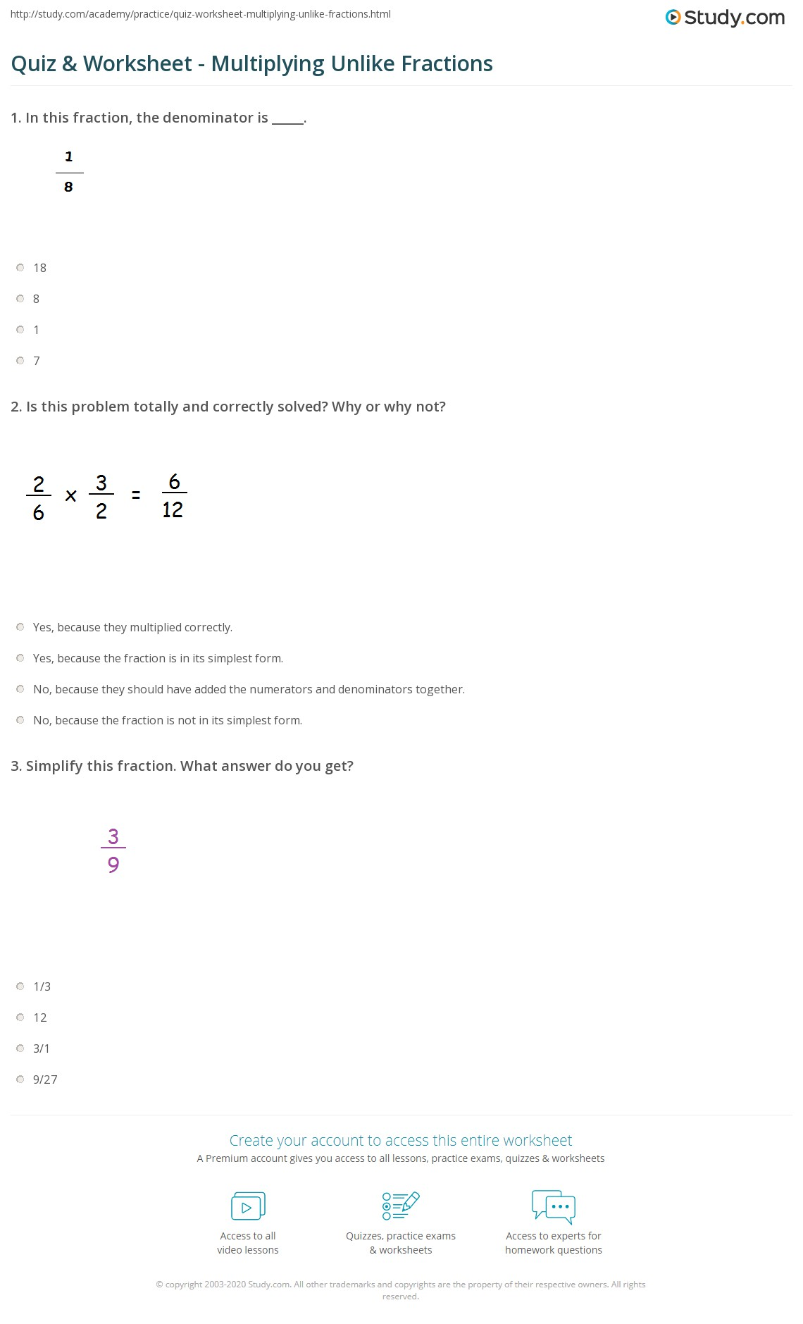 worksheet Multiplication Of Fractions Worksheet quiz worksheet multiplying unlike fractions study com print how to multiply with denominators worksheet