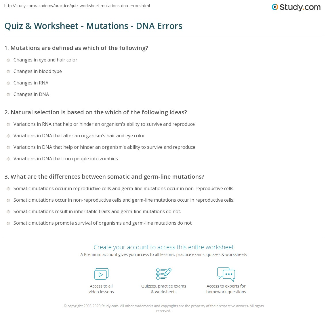 Quiz Worksheet Mutations DNA Errors – Gene Mutation Worksheet