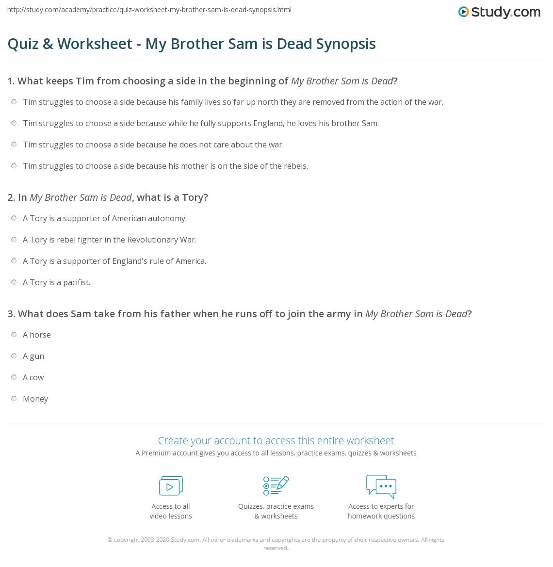 my brother sam is dead worksheets  quiz worksheet my brother sam is dead synopsis study com