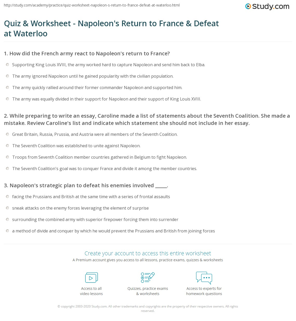 quiz worksheet napoleon s return to defeat at while preparing to write an essay caroline made a list of statements about the seventh coalition she made a mistake review caroline s list and indicate