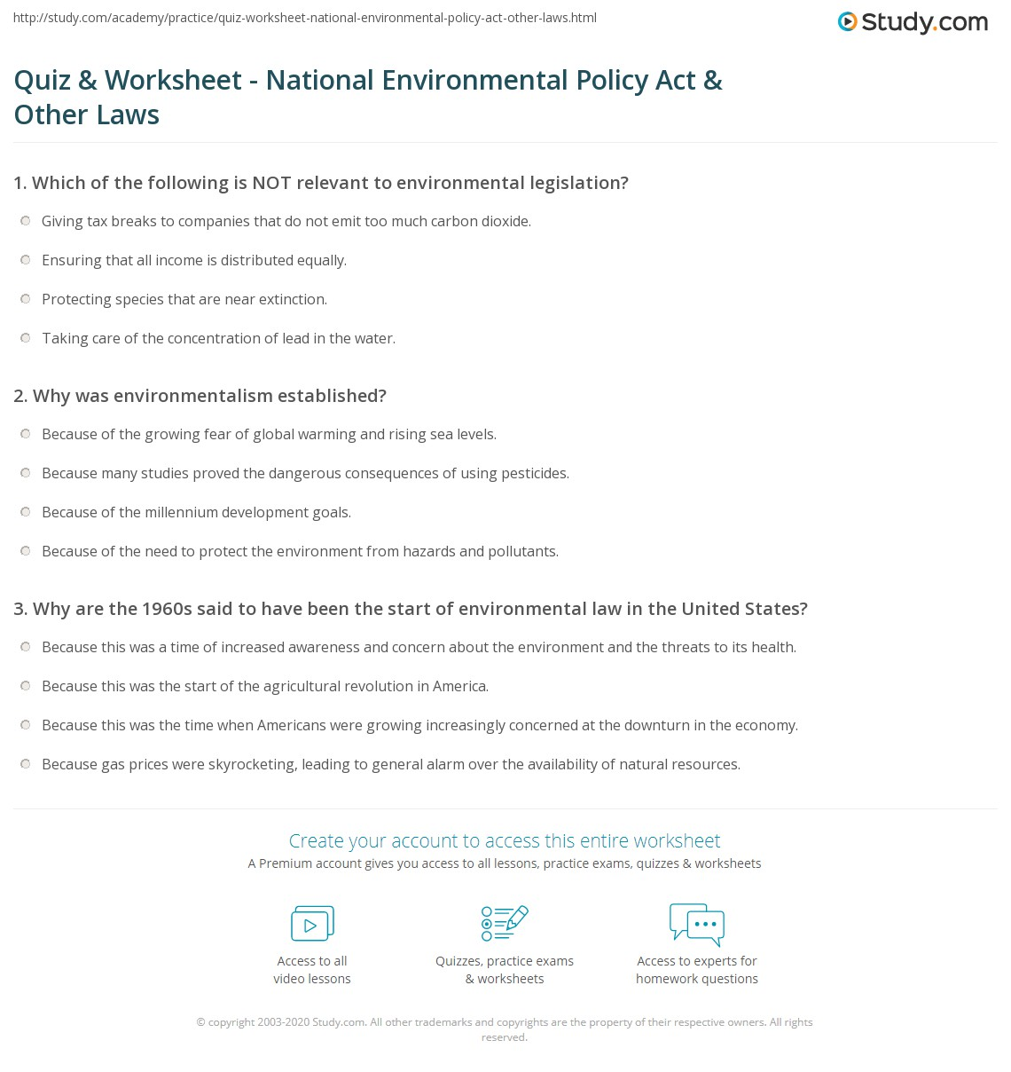 quiz worksheet national environmental policy act other laws already registered login here for access