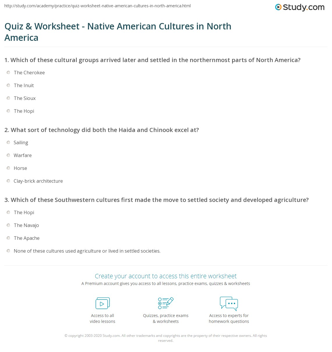 Uncategorized Native American Worksheets quiz worksheet native american cultures in north america print early worksheet