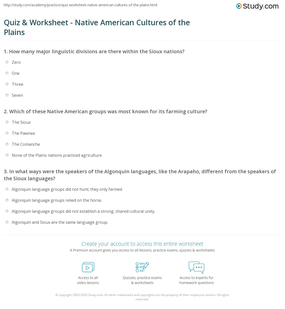 Quiz & Worksheet - Native American Cultures of the Plains  Study.com math worksheets, education, multiplication, free worksheets, printable worksheets, and worksheets for teachers Plains Indians Worksheets 1443 x 1140