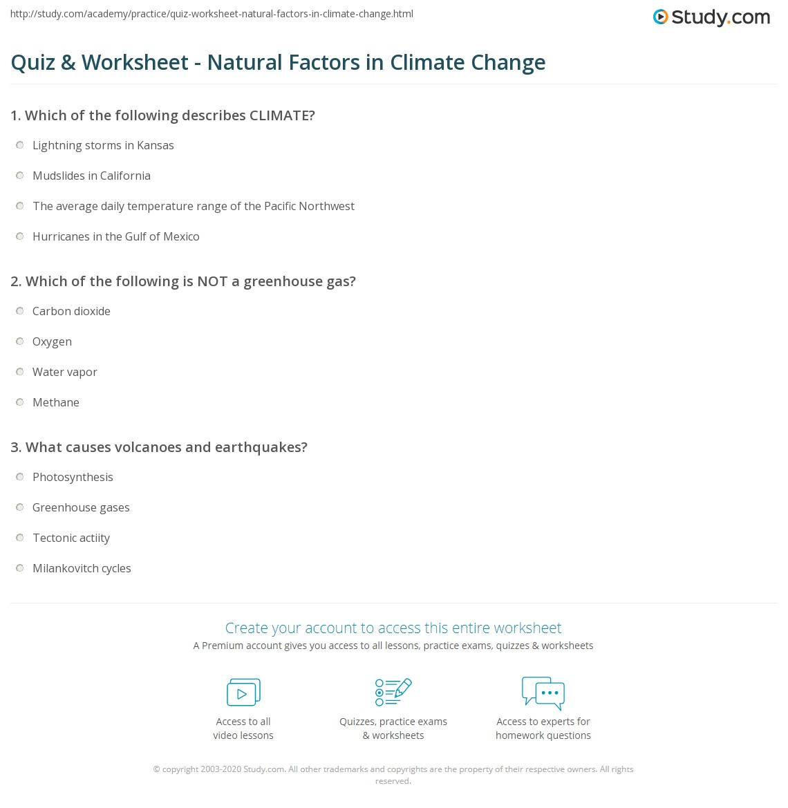 quiz worksheet natural factors in climate change com print natural causes of climate change worksheet