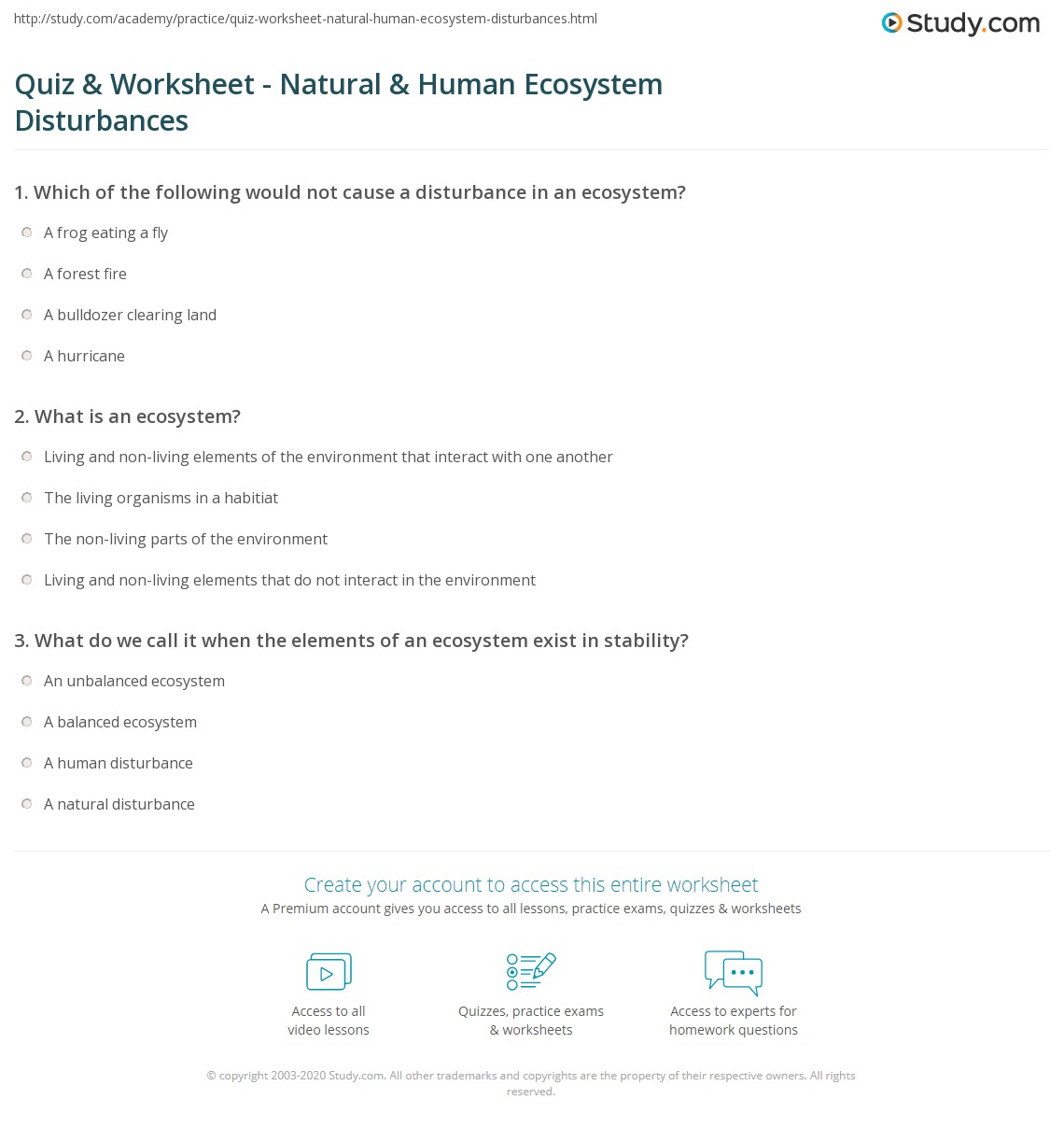 Printables Ecosystem Worksheet quiz worksheet natural human ecosystem disturbances study com print that affect an worksheet