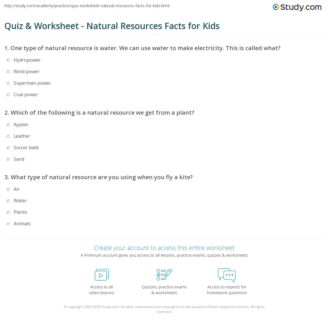 Printables Natural Resources For Kids Worksheets quiz worksheet natural resources facts for kids study com print lesson definition examples worksheet