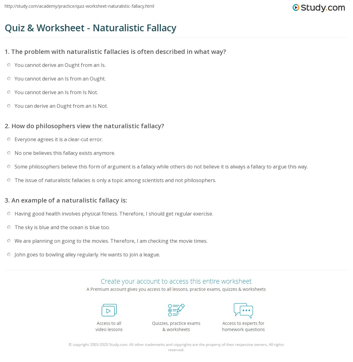 Quiz Worksheet Naturalistic Fallacy – Fallacies Worksheet