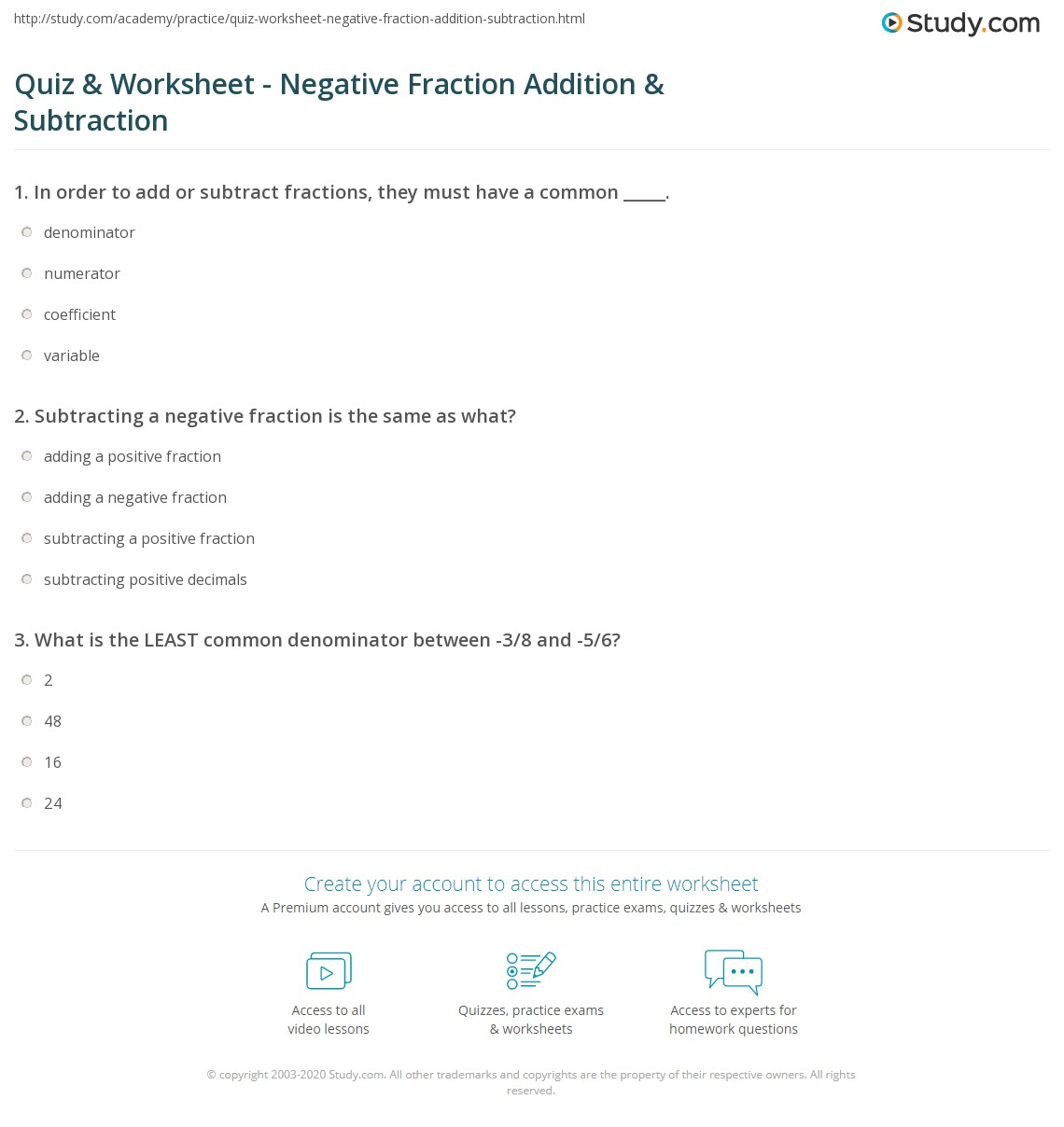 Quiz and Worksheet Negative Fraction Addition and Subtraction – Negative Fractions Worksheet
