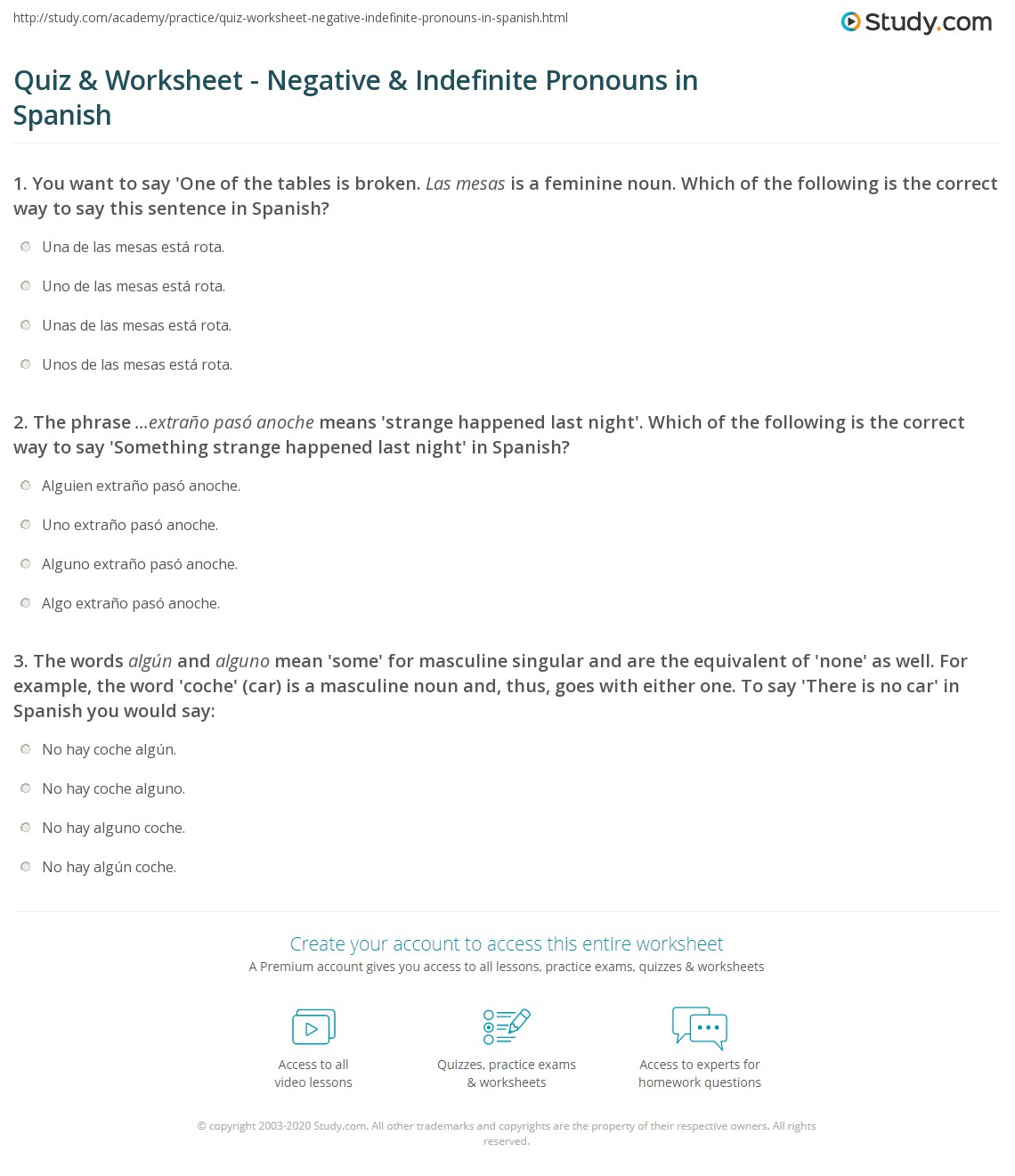 Worksheet Example Of Indefinite Pronoun In A Sentence quiz worksheet negative indefinite pronouns in spanish print worksheet