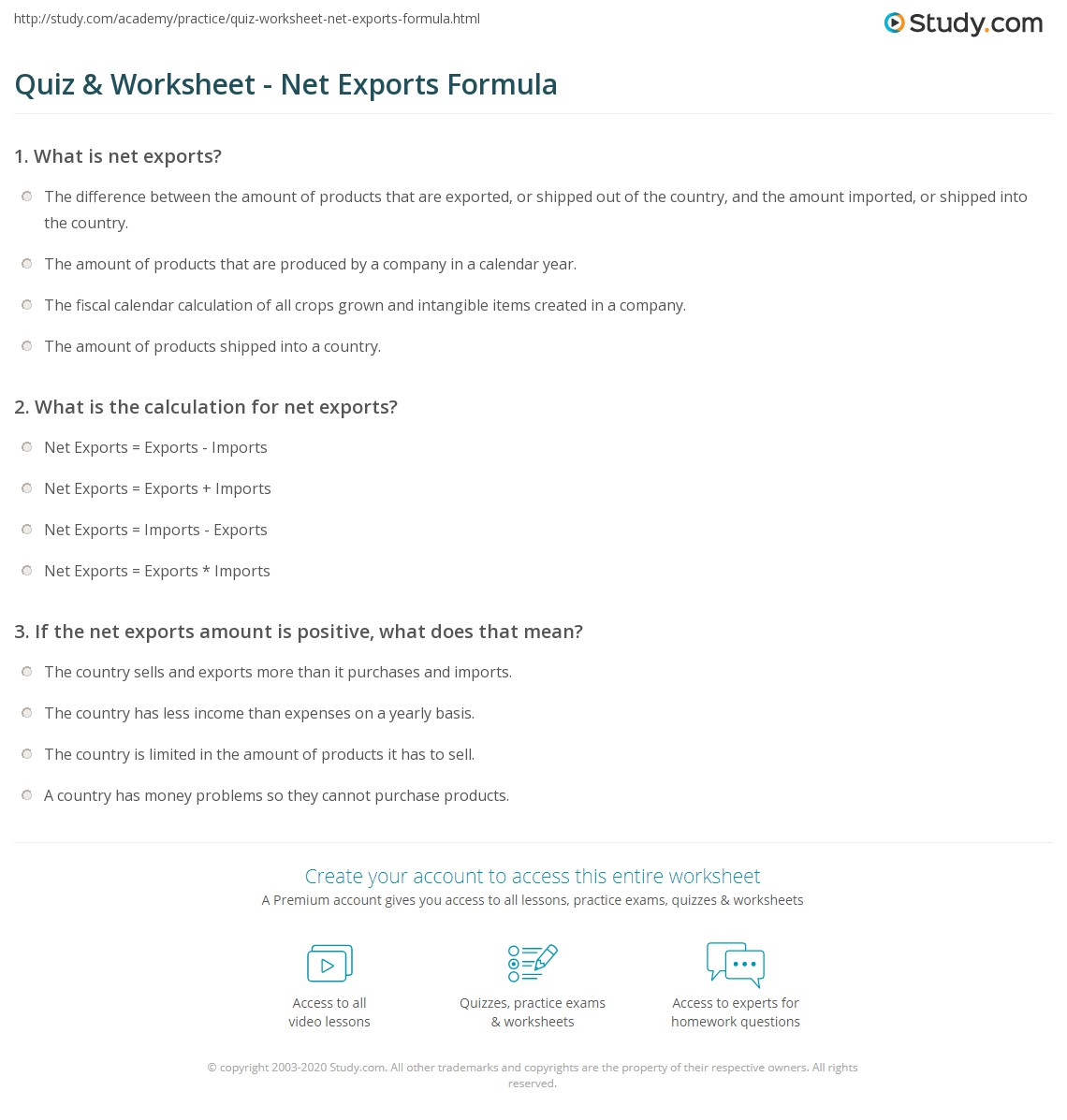 worksheet Formula Worksheet quiz worksheet net exports formula study com print calculating definition worksheet