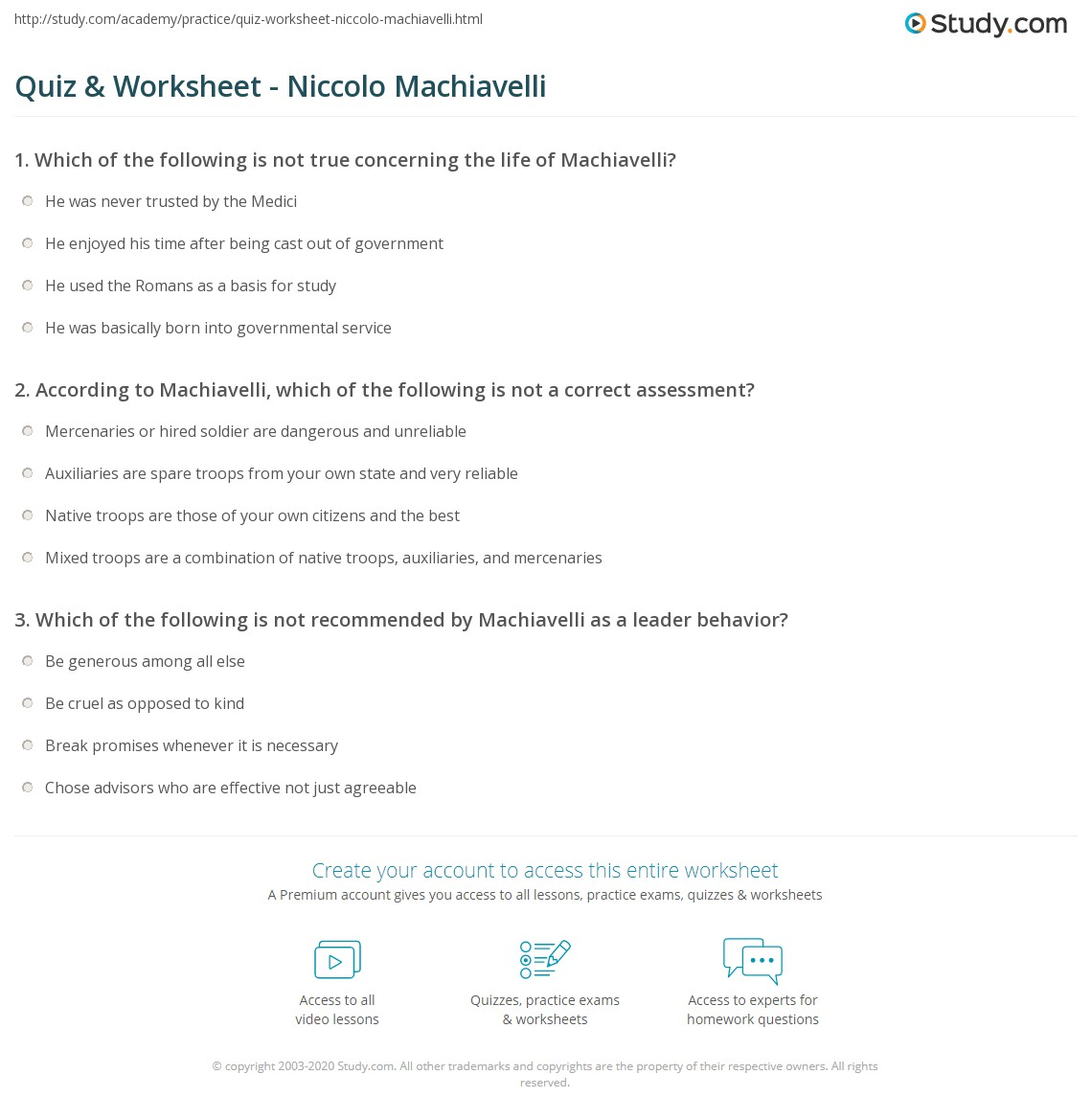 quiz worksheet niccolo machiavelli com print niccolo machiavelli philosophy politics books worksheet