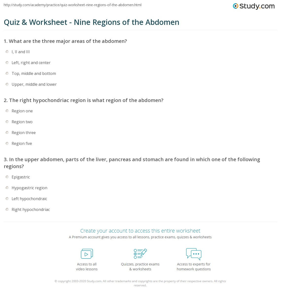 Quiz Worksheet Nine Regions of the Abdomen – Body Regions Worksheet