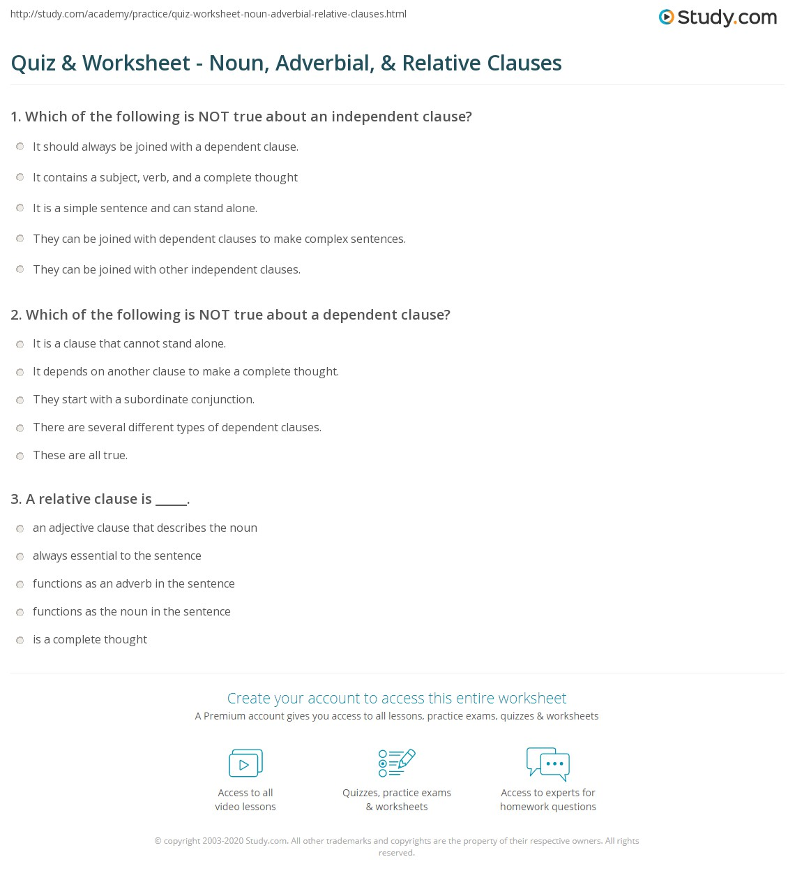 Quiz Worksheet Noun Adverbial Relative Clauses – Phrases and Clauses Worksheets