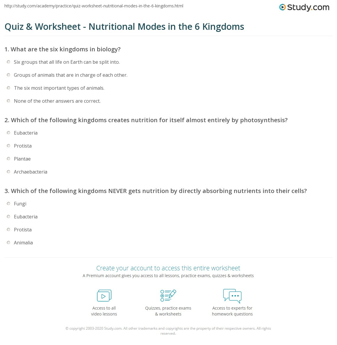 Quiz Worksheet Nutritional Modes in the 6 Kingdoms – Six Kingdoms Worksheet