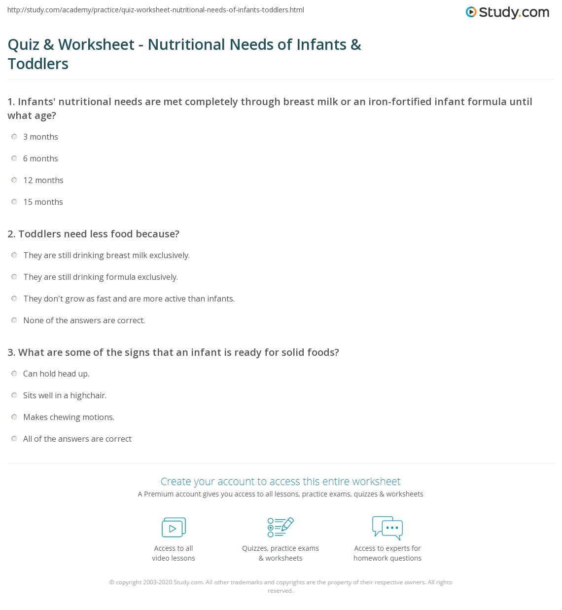 Quiz Worksheet Nutritional Needs of Infants Toddlers – Nutrition Worksheets for Highschool Students