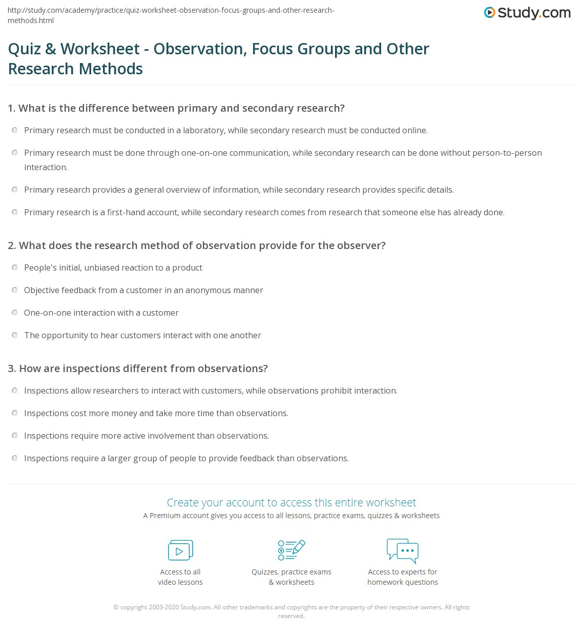 quiz worksheet observation focus groups and other research print research methods observation focus groups more worksheet