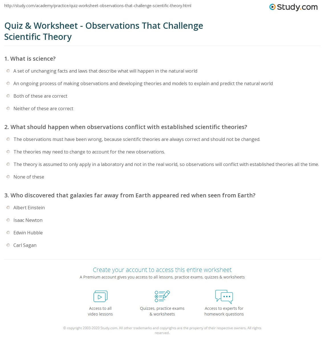 Uncategorized What Is Science Worksheet quiz worksheet observations that challenge scientific theory print when differ from accepted worksheet