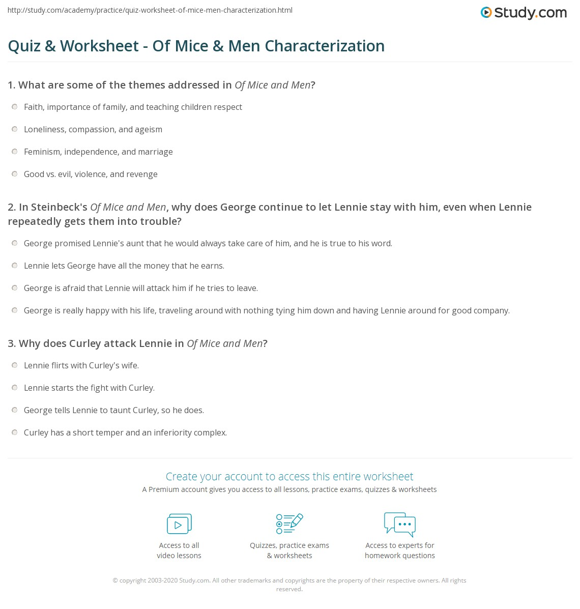 Printables Of Mice And Men Worksheets quiz worksheet of mice men characterization study com print in worksheet