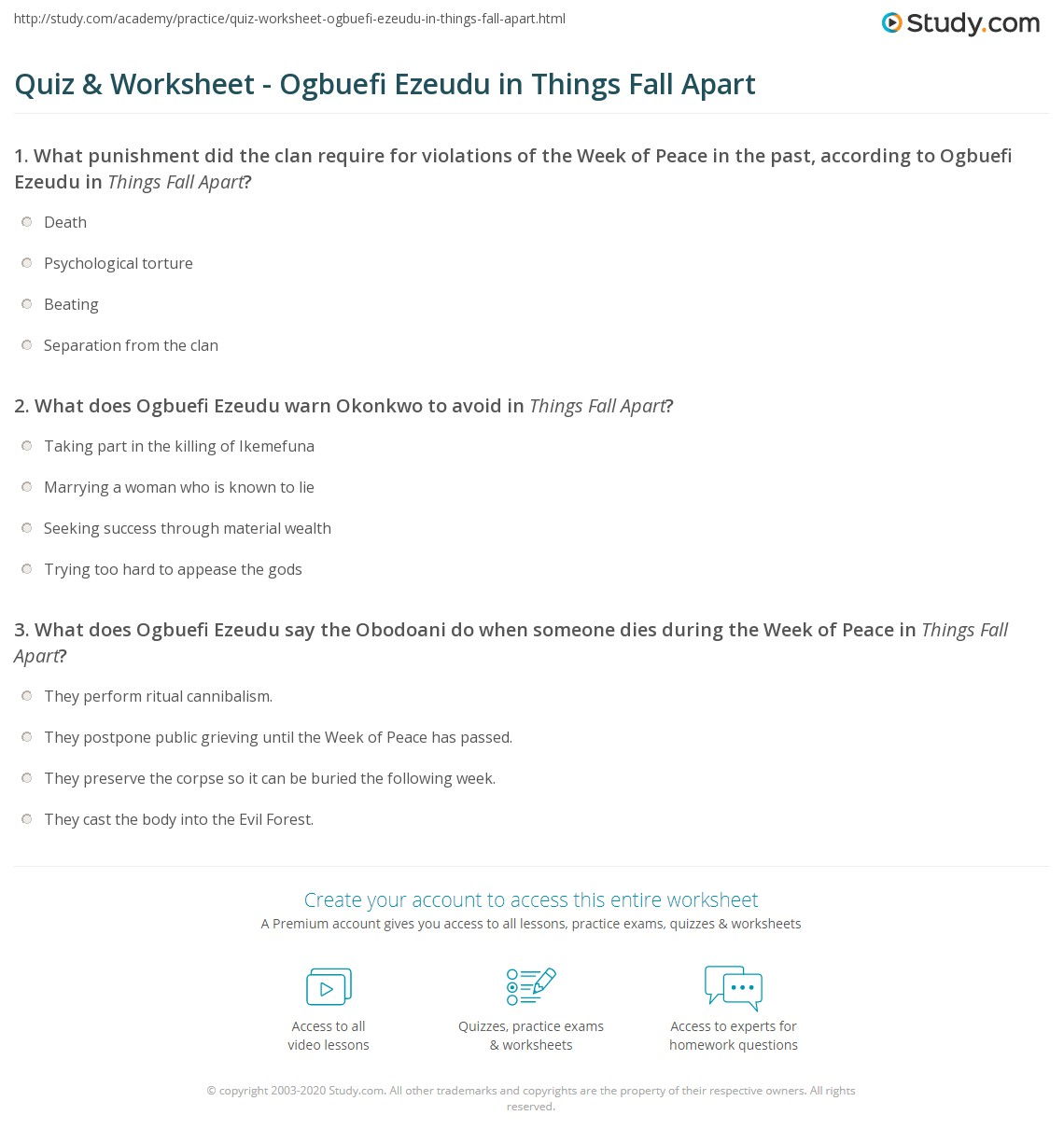 Quiz Worksheet Ogbuefi Ezeudu in Things Fall Apart – Ez Worksheet