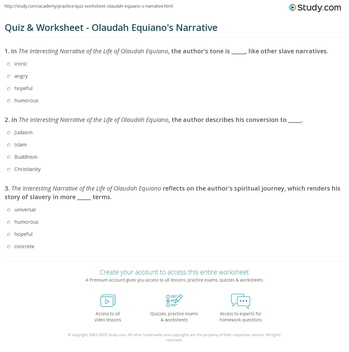 quiz worksheet olaudah equiano s narrative study com print the interesting narrative of the life of olaudah equiano analysis worksheet