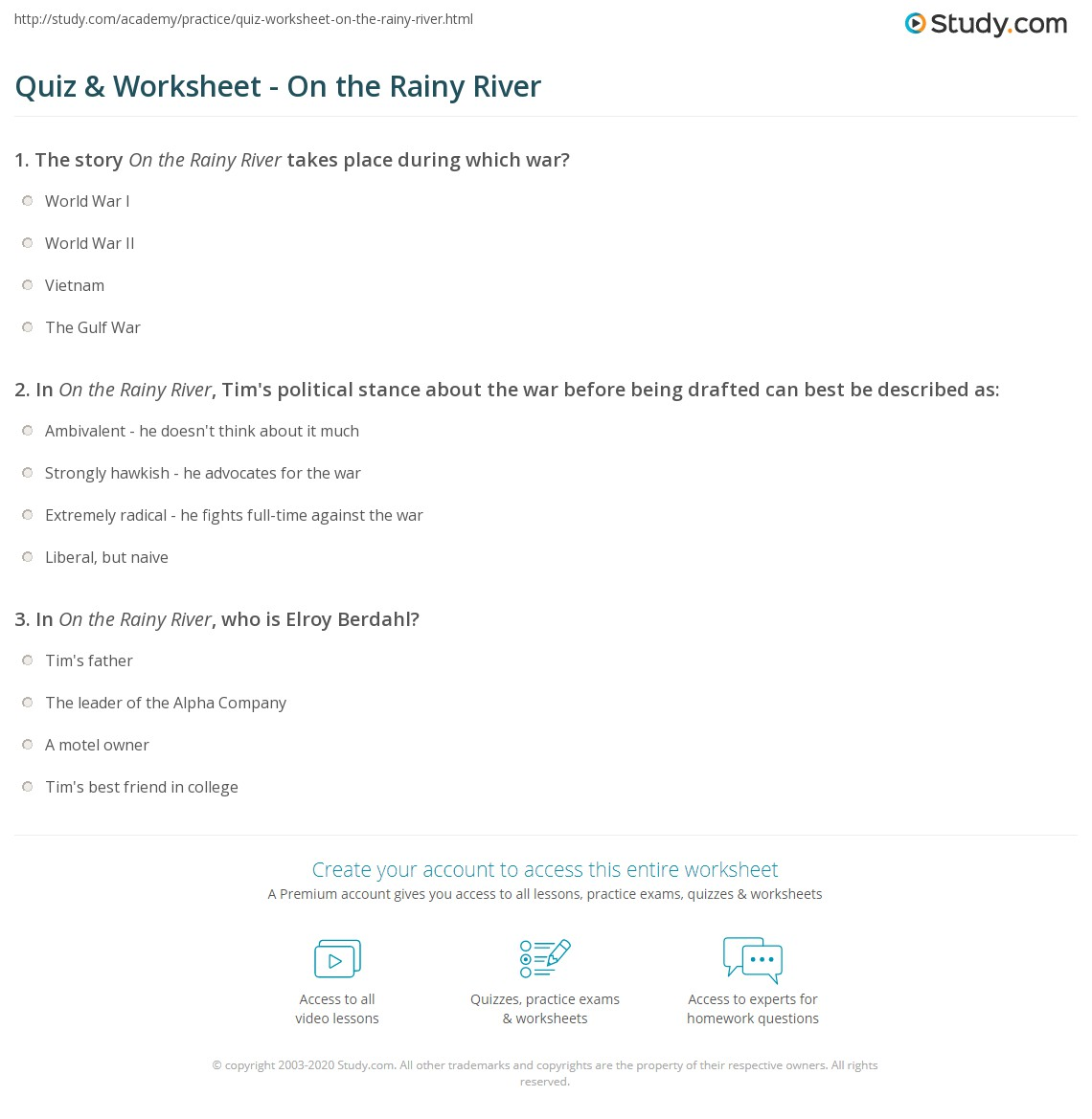 quiz worksheet on the rainy river com print on the rainy river by tim o brien summary theme analysis worksheet