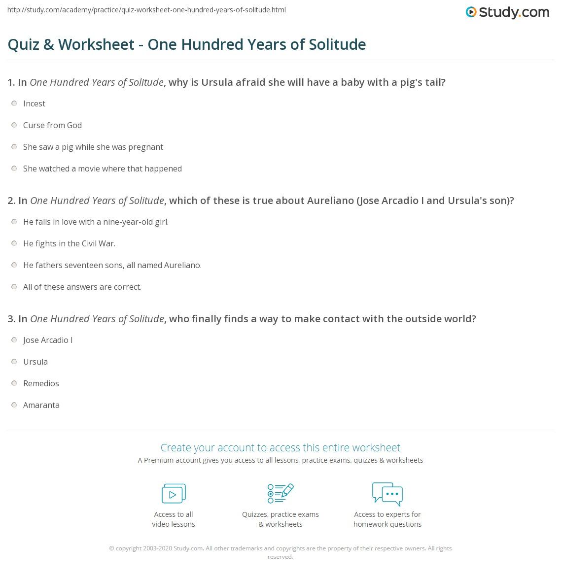quiz worksheet one hundred years of solitude com print one hundred years of solitude summary characters themes worksheet