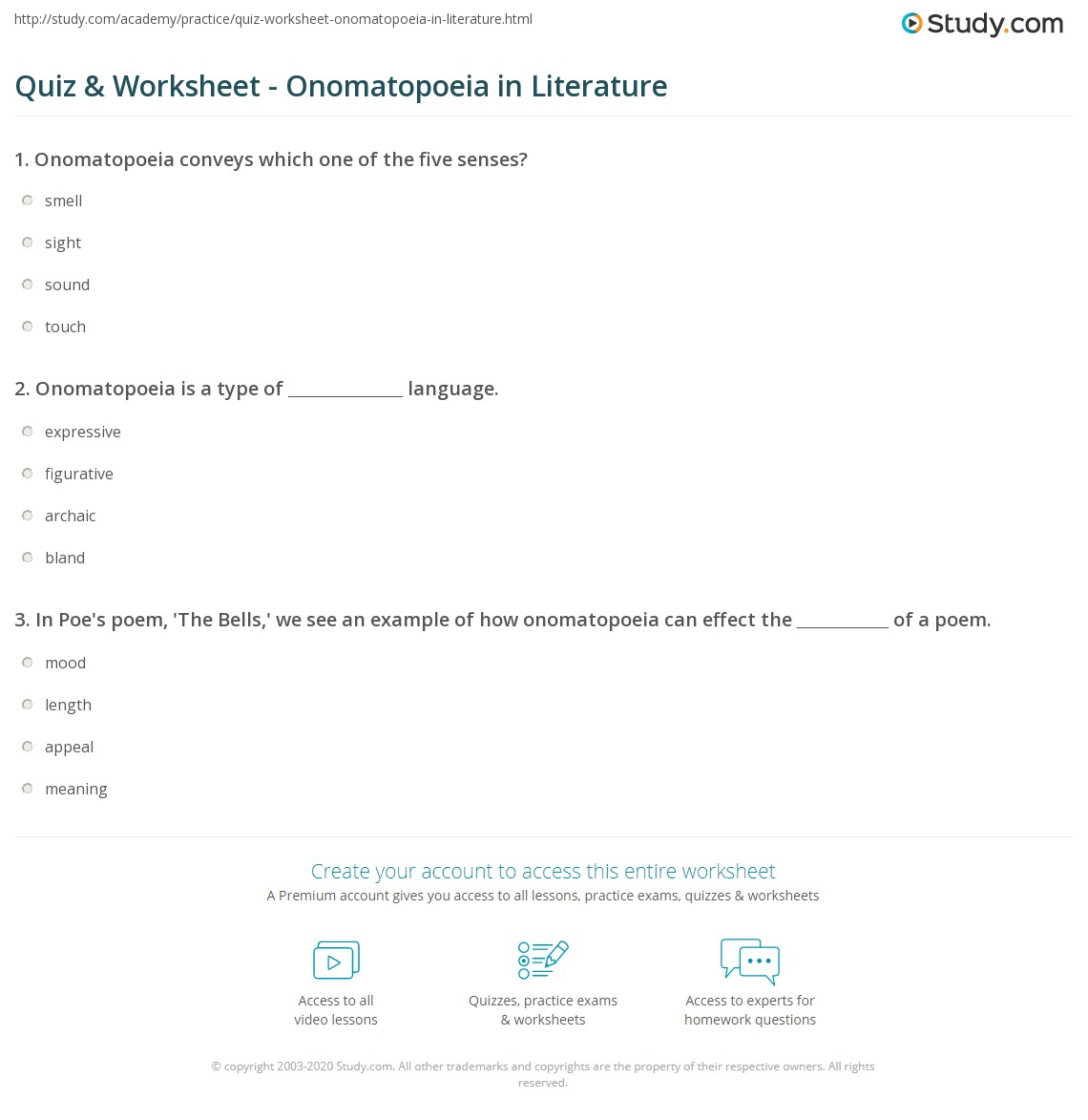 Quiz Worksheet Onomatopoeia in Literature – Onomatopoeia Worksheets