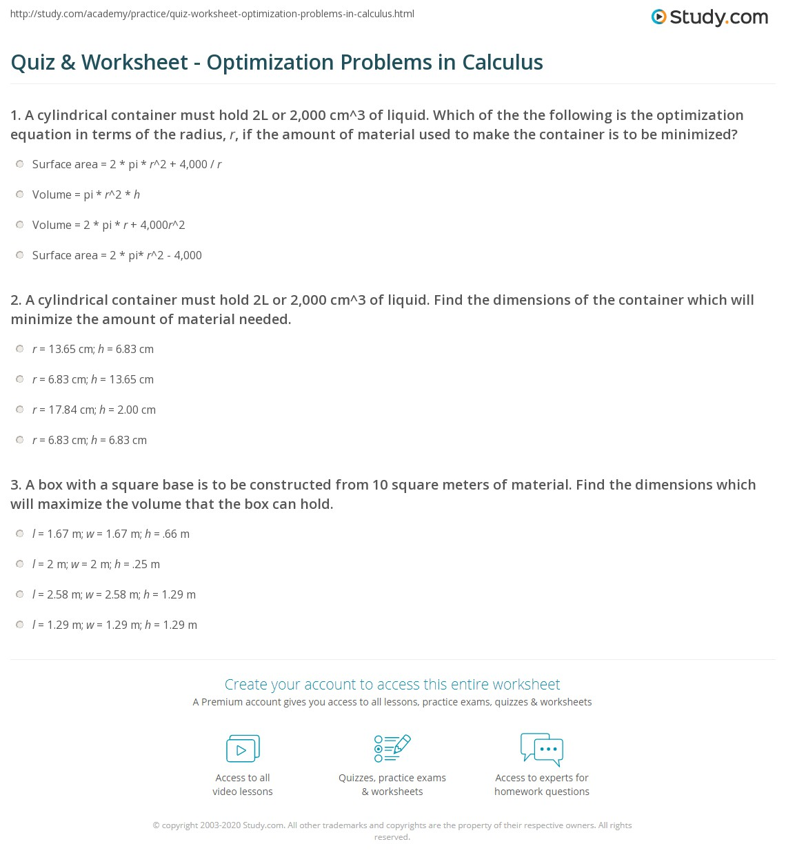 Worksheets Application Of Optimization  Work Sheet With Solution quiz worksheet optimization problems in calculus study com print examples explanation worksheet