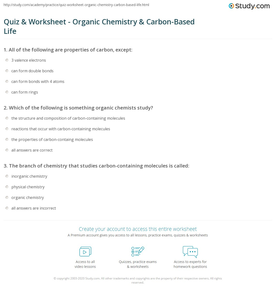 Quiz Worksheet Organic Chemistry CarbonBased Life – Molecules of Life Worksheet