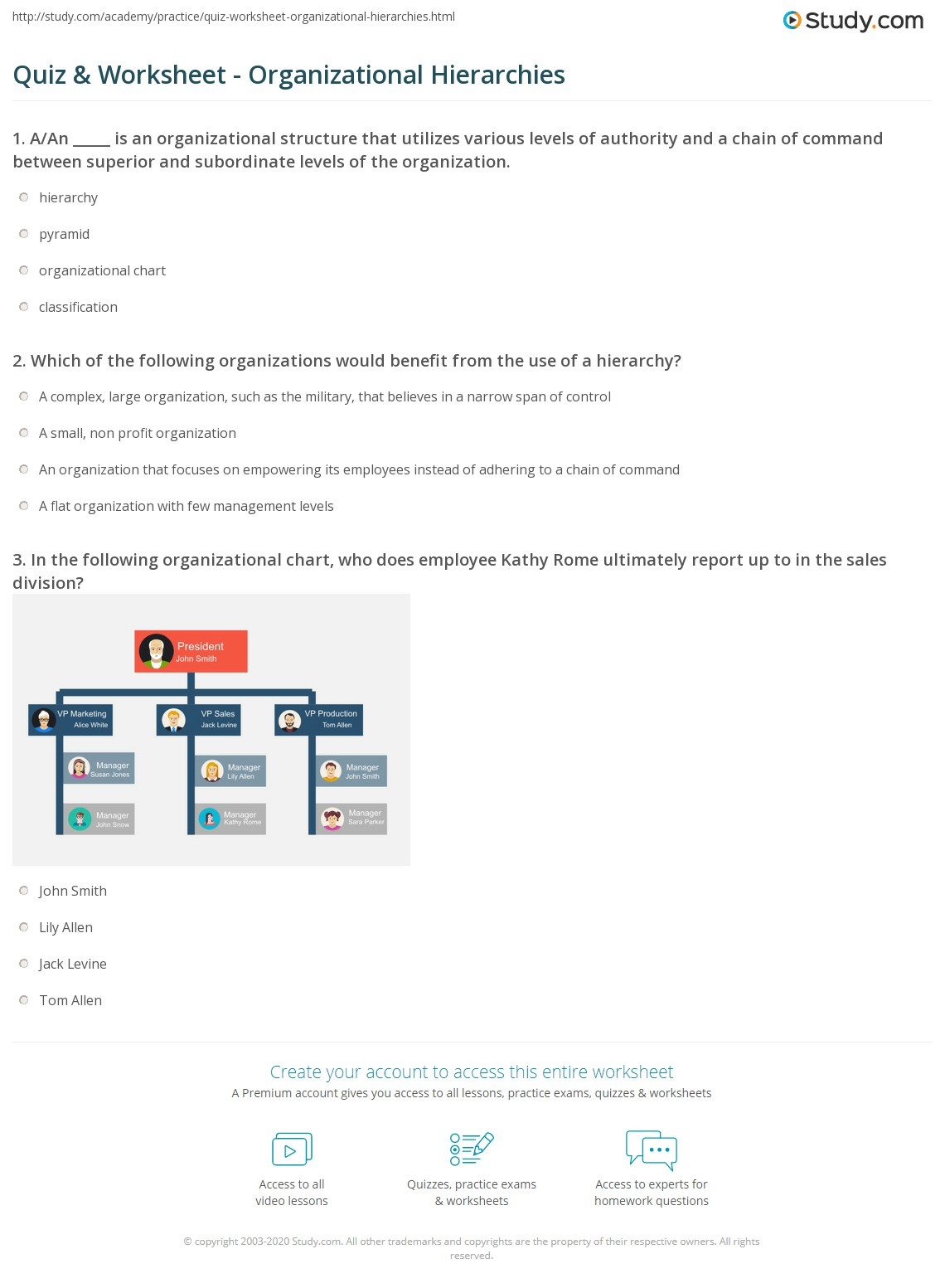Quiz and Worksheet Organizational Hierarchies – Levels of Organization Worksheet