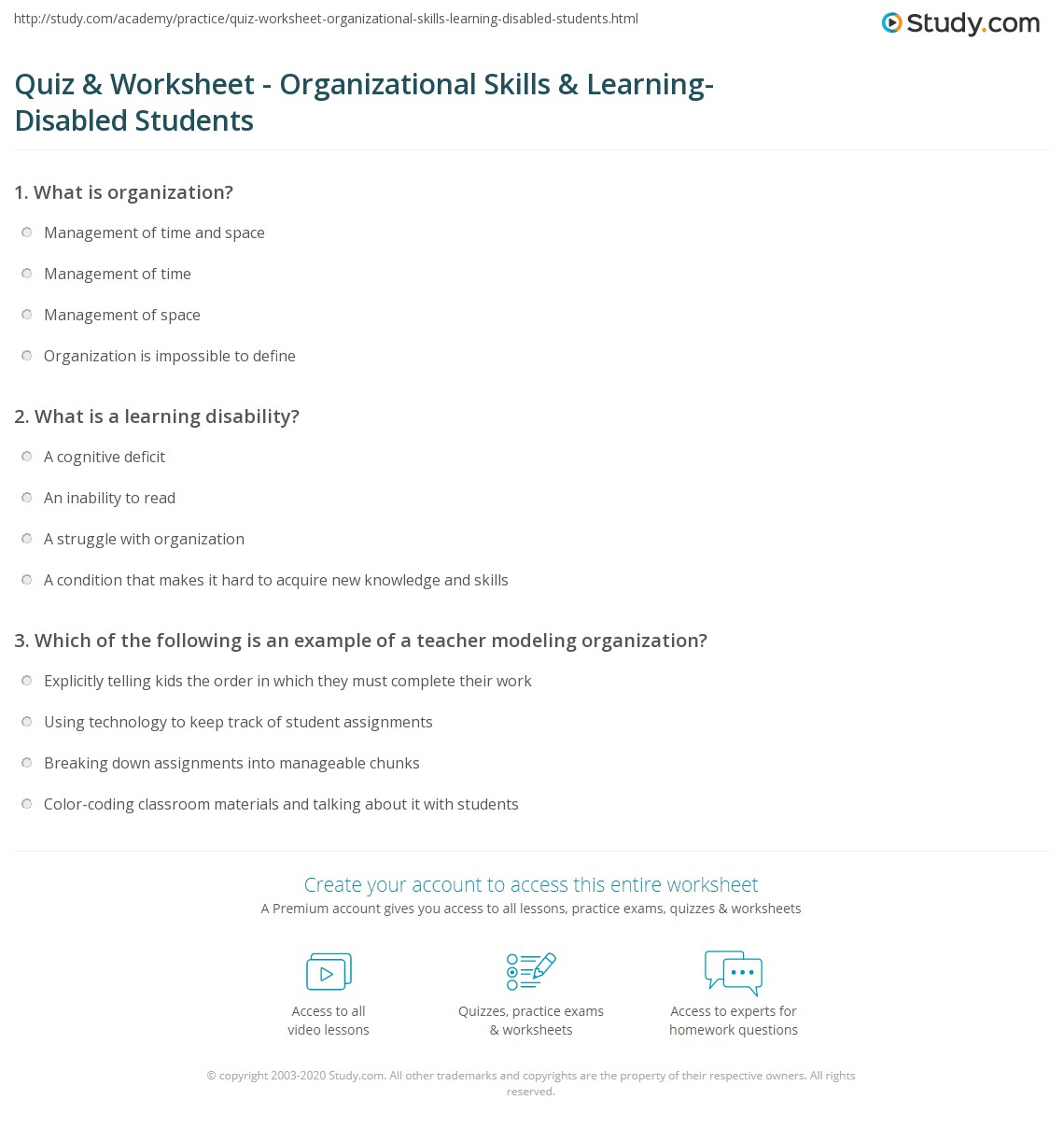 quiz worksheet organizational skills learning disabled print teaching organizational skills to students learning disabilities worksheet
