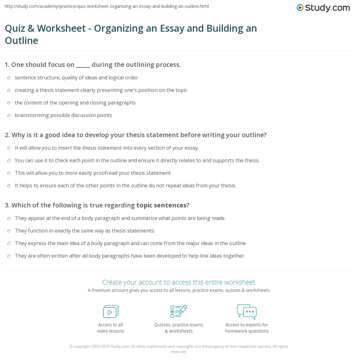 quiz worksheet organizing an essay and building an outline print essay organization and outline building worksheet