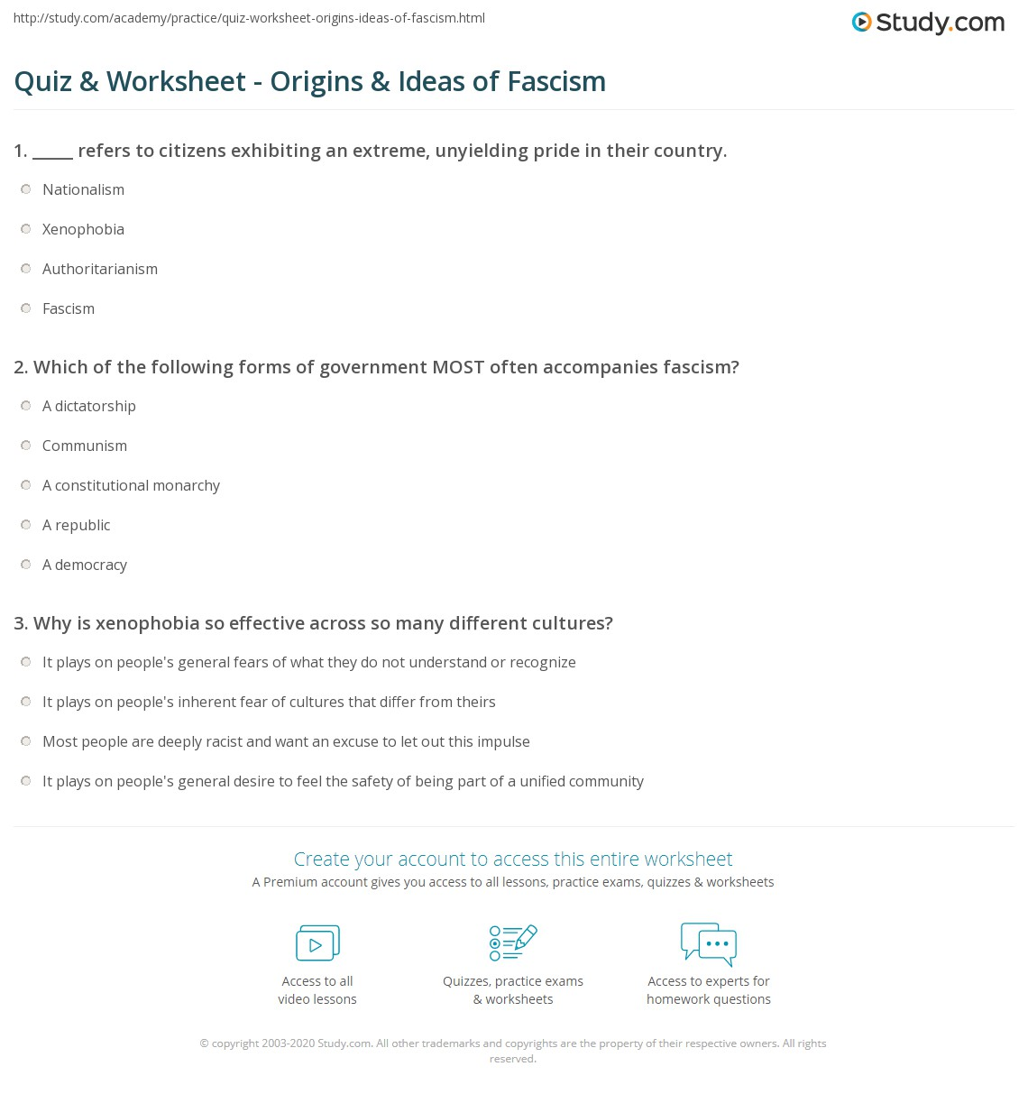 quiz worksheet origins ideas of fascism com print fascism characteristics history rise worksheet