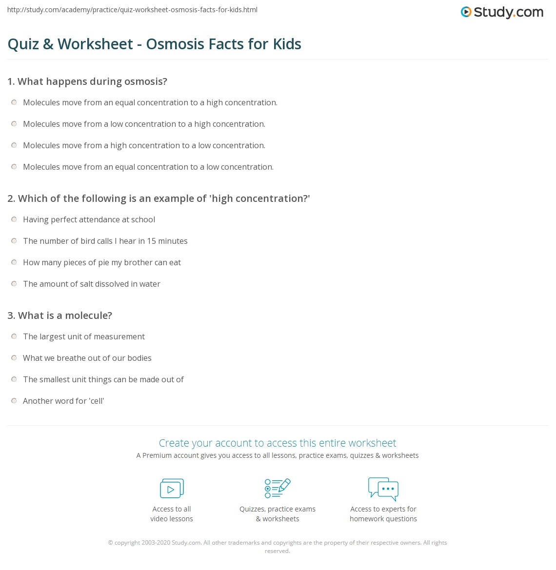 Quiz & Worksheet - Osmosis Facts for Kids | Study.com