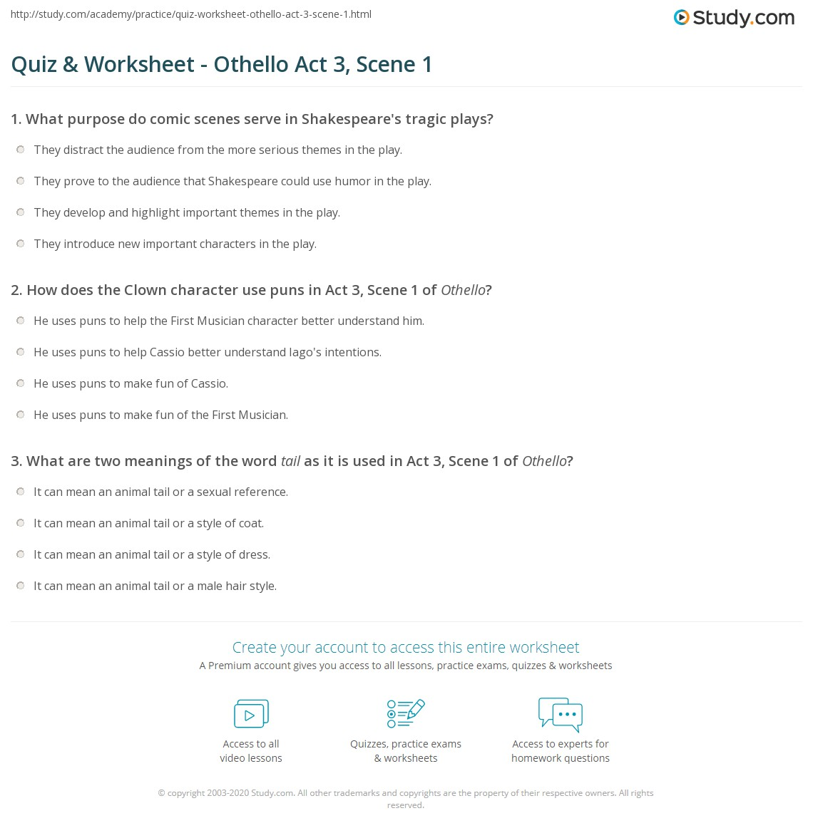 Quiz Worksheet Othello Act 3 Scene 1 – Element Puns Worksheet