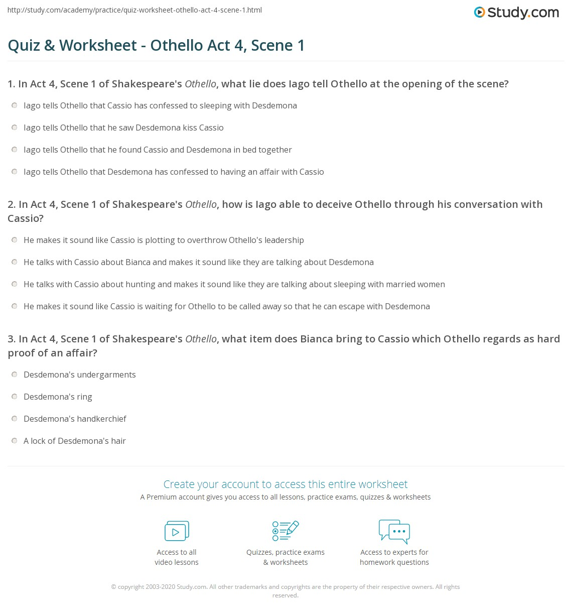 quiz worksheet othello act scene com print othello act 4 scene 1 summary quotes worksheet