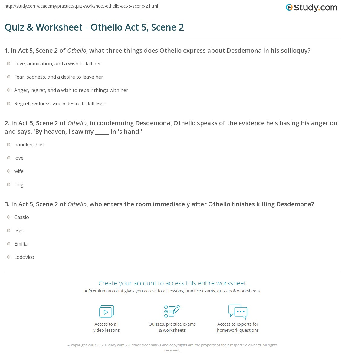 quiz worksheet othello act scene com print othello act 5 scene 2 summary quotes worksheet