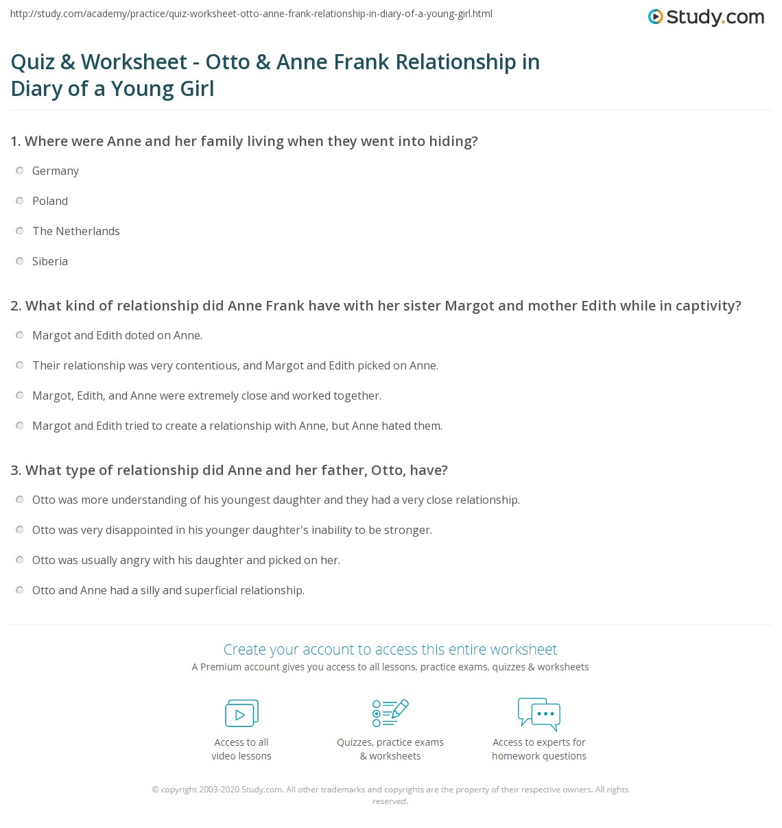 Quiz Worksheet Otto Anne Frank Relationship in Diary of a – Anne Frank Worksheets