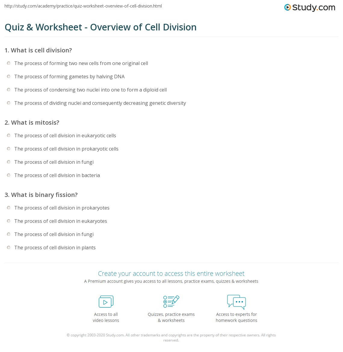 Quiz & Worksheet - Overview of Cell Division | Study.com